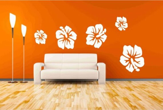 hibiscus flower wall decals floral wall decor tropical | etsy