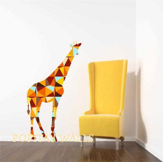 giraffe wall decals brown giraffe decalsgeometric pattern   etsy