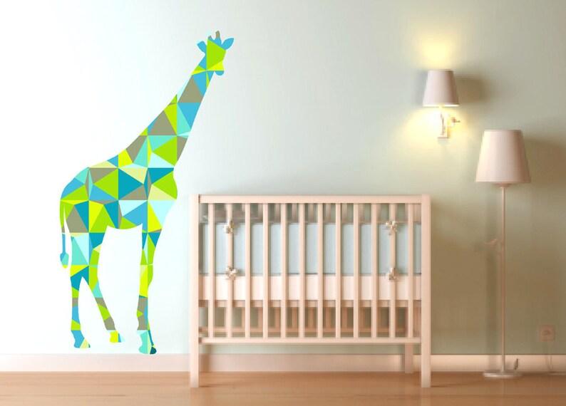 giraffe wall decals in green geometric pattern large giraffe   etsy