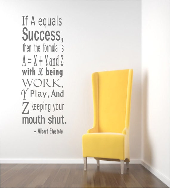 Einstein Success Quote Wall Decals Inspirational Wall Quote | Etsy