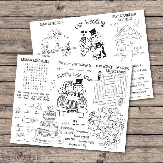 Kids Wedding Activity Coloring Placemat Wedding Reception Etsy