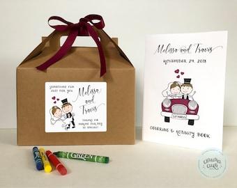 Kids Wedding activity coloring box, kids wedding favor box, kids wedding activity, wedding coloring activity book - Set of 6