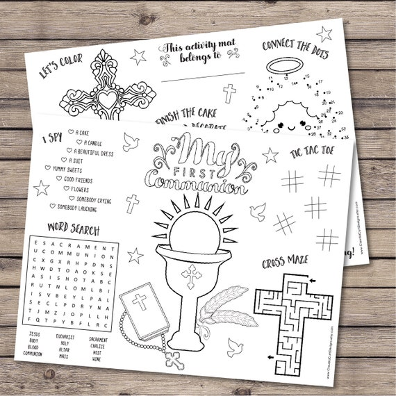 First Communion Coloring Activity Sheets Holy Communion Favor Etsy