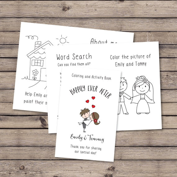Personalized wedding coloring book / Kids wedding favor / Wedding activity  for kids / Wedding favor / Wedding activities / PRINTABLE FILE