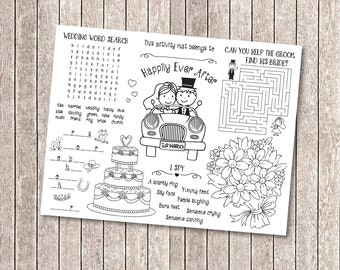 Kids wedding activity coloring placemat / wedding reception favor / kids wedding table / wedding activities for kids - INSTANT DOWNLOAD
