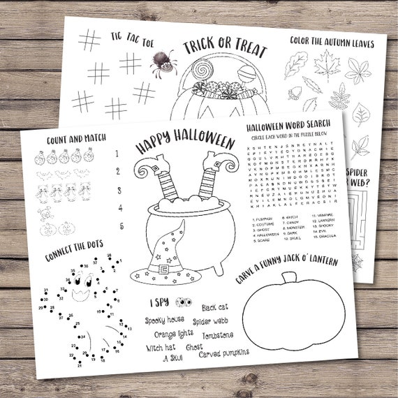 Halloween kids activity coloring sheets, Halloween party favor, Halloween  party activities placemat, Trick or treat favor - INSTANT DOWNLOAD