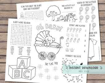 Baby shower coloring placemat, Baby shower activity, coloring book, Baby shower games for kids, printable coloring sheet - INSTANT DOWNLOAD