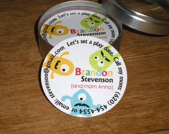 Calling Cards/Play date cards in Tin - set of 45 cards - MONSTER