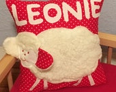 Cushion with name namescillis gifts for birth children's pillow shieous pillow sheep shepherds
