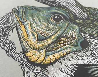 ELDER screen print, fish, magic, horn, water, animal, illustration, beard, scales, drawing, fishing, bass, wizard, prehistoric, nature, pnw