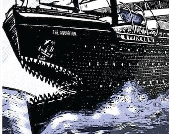 SEAWHORES screen print gig poster -  aquatic, blue, water, aquarium, boat, fins, teeth, fishing, shark, seahorse, poster, print, art