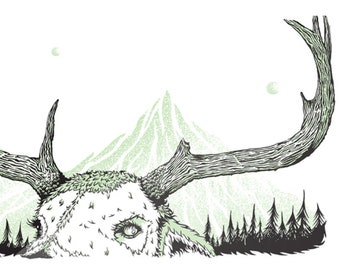 Meadow Marcher screen print, deer, trees, mountains, hunt, moon, horn, buck, doe, illustration, poster, drawing, art, graphic, green, nature