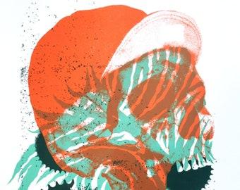 Bike screen print poster, cycling, skull, biking, bike riding, bicycling, gear, skeleton, cap, hat, hipster, Portland, art, pnw, fast, sport