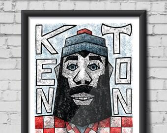 Paul Bunyan Kenton Neighborhood North Portland print - Screen print, plaid, beard, Axe, Hipster, PDX, PNW, Statue, Oregon, Babe, Lumberjack