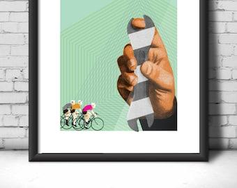 Bicycle screen print, cyclist, geometric, spokes, biking, bike riding, hand, tool, cycling, wrench, design, hipster, race, cloud, graphic