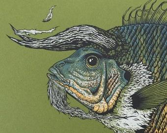 ELDER screen print, fish, magic, horn, water, animal, illustration, beard, scales, drawing, fishing, bass, wizard, green, nature, pnw