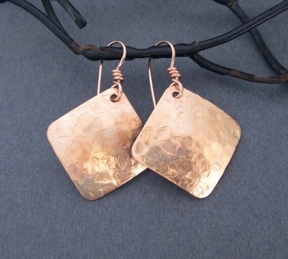 Blush Square and Copper Earrings