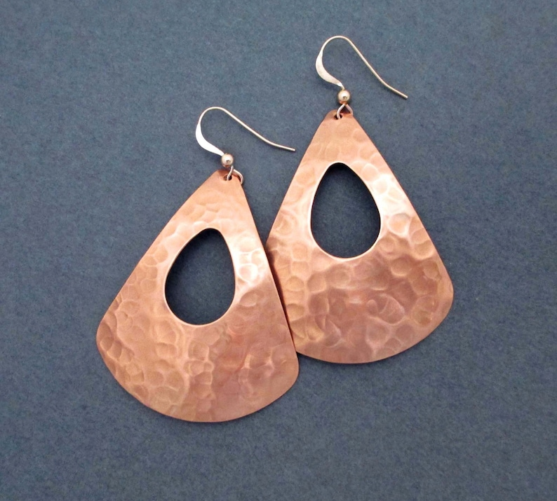 Large Hammered Copper Earrings Teardrop Triangle Dangles Modern 7th Anniversary Gift for Wife