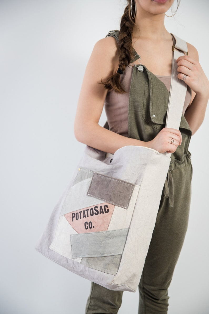 dfdeb3049feb 4-PATCH-L PotatoSac Co. Heavy duty canvas bag with patchwork pocket. Made  in Wilmer BC Canada.