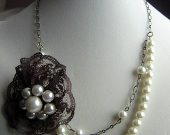 Pearl and Brown Lace Flower Pendant Necklace