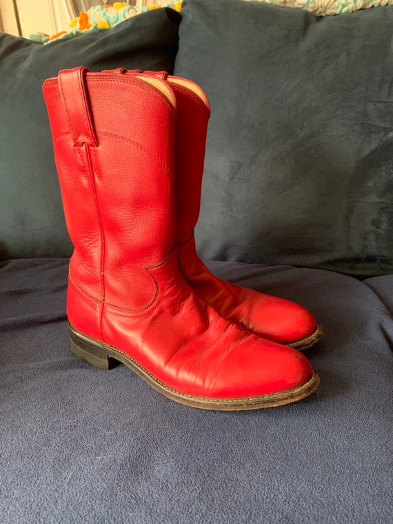 Vintage Justin cowboy boots, Red cowboy boots size