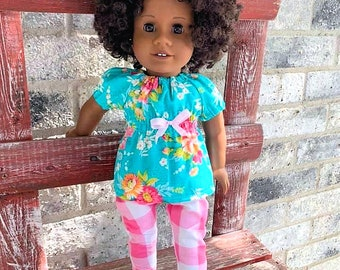 American Girl blue top and pink checkered pants outfit