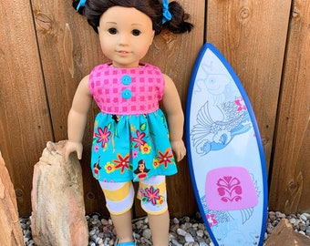 American Girl Doll top and shorts outfit beach blue yellow