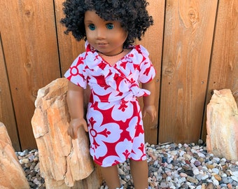 American Girl doll red floral wrap dress knit