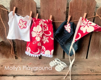 American Girl doll Hawaiian Red Hibiscus 5 pc outfit