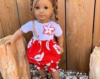 READY TO SHIP American Girl doll Red Hawaiian top and bloomers set
