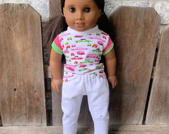 American Girl Doll Knit cars T shirt and white distressed denim jeans