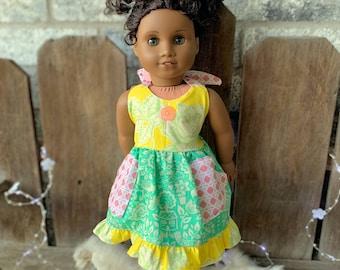 American Girl Doll cute Summer dress pockets halter ruffles -Bamboletta