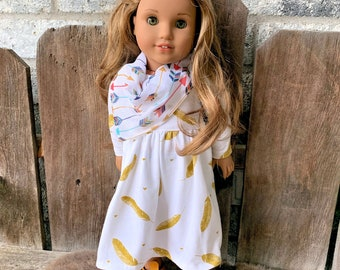 American Girl doll knit FEATHER dress, scarf and bow outfit set