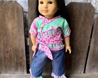 American Girl Doll Kimono set Butler Daisy Chain top pants