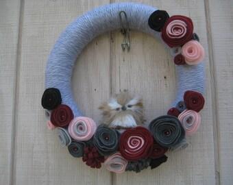 Yarn wreath//Owl Wreath//Gray Wreath