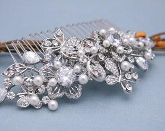 bridal hair comb pearl hair clip Large Wedding hair comb Crystal hair piece Wedding comb Rhinestone hair comb Bridal headpiece Bridal comb