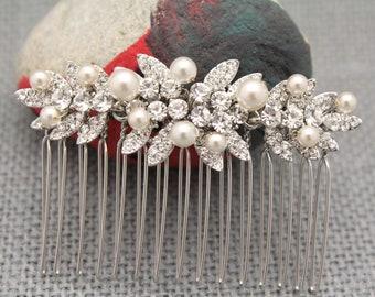 Rose Gold Bridal Comb,Rose Gold Wedding headpiece,Hair clip,Wedding hair comb,Swarovski Pearls,Wedding jewelry,Bridesmaid hair comb,Crystal