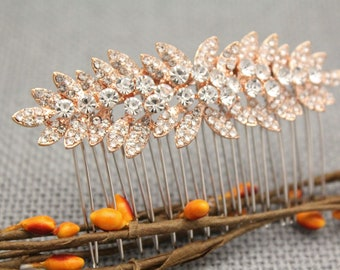 Rose Gold Rhinestone Bridal Comb,Rose Gold Leaf Wedding Headpiece,Wedding hair comb,Bridal hair accessories,Bridal hair comb,Wedding comb