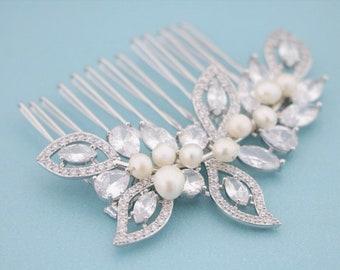 Bridal Hair Comb,Swarovski Wedding Hair Comb,Crystal Bridal Hairpiece,Pearl Wedding Headpiece,CZ Rhinestone Hair Clip,Wedding jewelry set