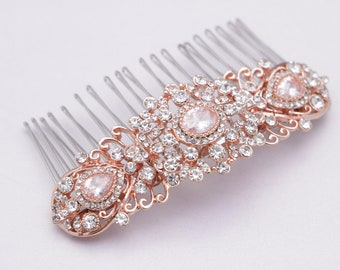 bridal hair comb crystal hair jewelry Wedding comb Rhinestone hair pin Wedding hair comb Bridal hair piece Rose gold hair comb Vintage style