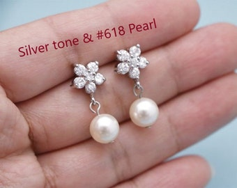 Silver Crystal Bridal Earrings Drop Wedding Earrings Swarovski Pearl Earrings Teardrop Crystal Pearl Wedding Necklace Set Bridal Jewelry