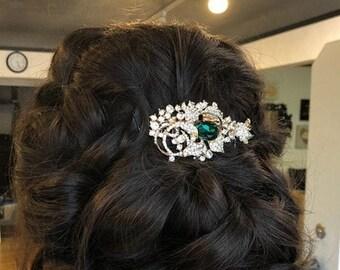 Bridal comb Green Wedding hair clip Blue Wedding hair piece Blue Wedding comb Crystal headpiece Rhinestone hair comb Wedding hair jewelry