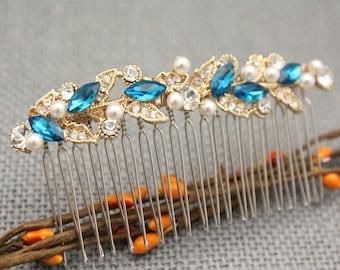 Gold Headpiece,Gold pearl comb,gold bridal comb,Bridal hair comb,Bridal headpiece,wedding headpiece,bridal comb,blue comb,Wedding hair comb
