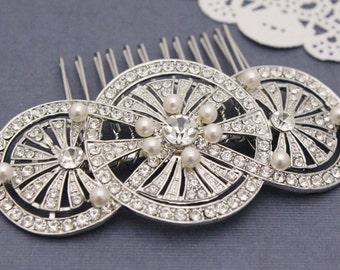 Bridal Hair Comb,Wedding Hair Accessories,Silver Rhinestone Bridal Hair Piece,Pearl Wedding Comb,Bridal Hair Clip,Wedding Headpiece Boho