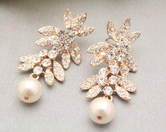 Rose Gold Bridal Earrings,Crystal Wedding Earrings,Bridesmaid,Swarovski Pearls Drop Earrings,Bridal Jewelry,Rose Gold Jewelry,Bridesmaid