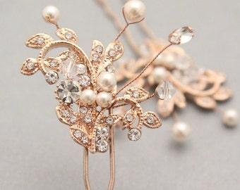 wedding hair pins gold Wedding hair piece Rose gold Bridal hair pins Wedding hair accessories Pearl hair pins Wedding hair jewelry Silver