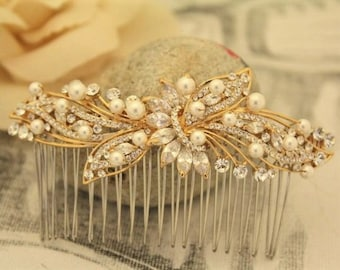 wedding comb gold Wedding hair accessories pearl hair comb Bridal hair piece Wedding hair comb Rose gold Bridal hair comb Crystal hair comb