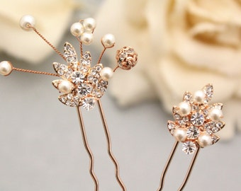 Rose Gold Hair Pin,Leaf Hair Pin,Bridal Hair Pin,Set of Rose Gold Hair Pin,Rose Gold Leaf Headpiece,Wedding hair piece,Bridal hair comb Boho
