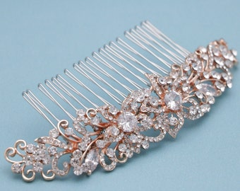 bridal hair comb silver,Gold,Rose gold Wedding hair accessories floral Wedding hair comb Crystal hair piece Wedding comb Bridal hair jewelry