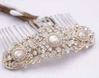 wedding hair piece vine wedding hair comb leaf Wedding hair accessories Gold Bridal hair comb Crystal headpiece Wedding hair clip Bridal